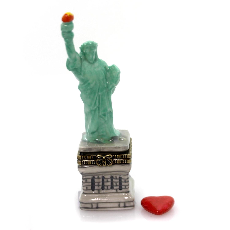 Statue Of Liberty American Flag Hinged Trinket Box New York