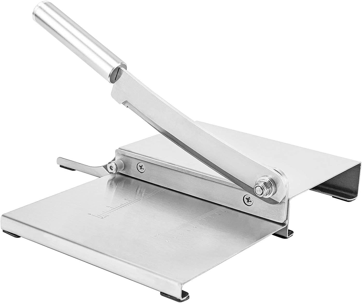 Moongiantgo Meat Slicer Manual Deli Food Slicer Stainless Steel Jerky Cutter with 1-10 CM and 1-4 INCH Scale Line for Meat Bacon Vegetable Fruit Herbs Pastry Cheese (KD0142: 155mm Cutting Length)