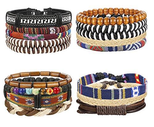 Thunaraz 15Pcs Braided Leather Bracelets for Men Women Natural Stone Wooden Beaded Bracelet Bangle Wrap Adjustable by Thunaraz (Image #5)