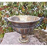 Deko-Impression Übertopf Amphore Pflanztopf Vase Pokal Kelch Eisen Antik-Look Gold