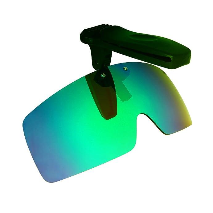 HKUCO Sunglasses Clip Red/Emerald Green Polarized Lenses Hat Visors Clip-on Sunglasses For Fishing/Biking/Hiking/Golf UV400 Protect sFXsU7E