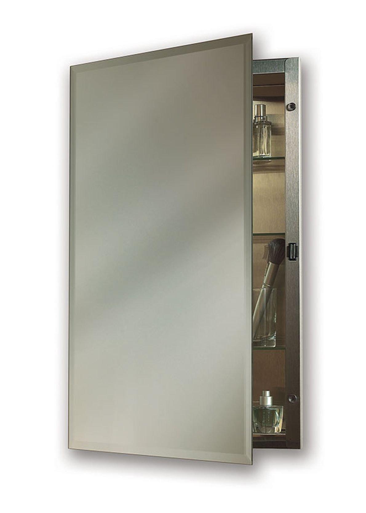 Jensen 1448X Bevel Mirror Medicine Cabinet, 16'' x 26'', Stainless Steel