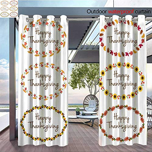 - QianHe Outdoor- Free Standing Outdoor Privacy Curtain Thanksgiving-Graphics-with-Oval-Frames.jpg for Front Porch Covered Patio Gazebo Dock Beach Home W96 x L84(245cm x 214cm)