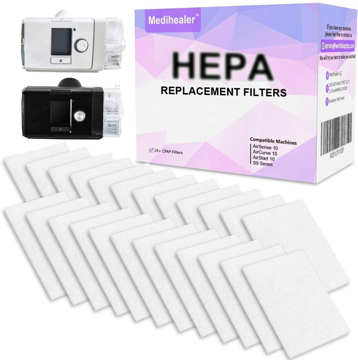 Medihealer HEPA CPAP Filters for Resmed(One-Year-Supply) - Premium Filters for Resmed AirSense 10 - AirCurve 10- S9-AirStart-Series Machines - Medihealer Replacement Filters Supplies-24 Packs