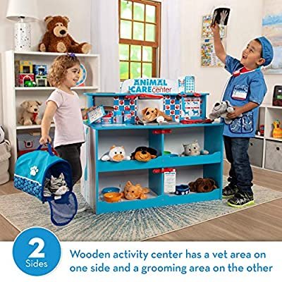 Melissa & Doug Animal Care Veterinarian and Groomer Wooden Activity Center for Plush Stuffed Pets (Not Included): Toys & Games