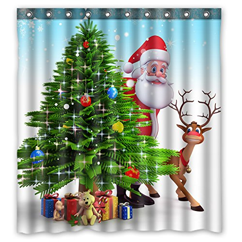 KXMDXA Christmas Tree Reindeer Custom Waterproof Shower Curtain Bathroom Curtains 66x72 inches