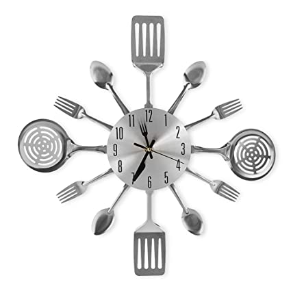 cigera 16 inch large kitchen wall clocks with spoons and forksgreat home decor and - Kitchen Wall Clocks