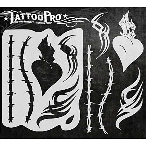 Airbrush Tattoo Pro 入れ墨ステンシル エアブラシ偽タトゥー TPS B06XKRL96Z Hearts & Tribal
