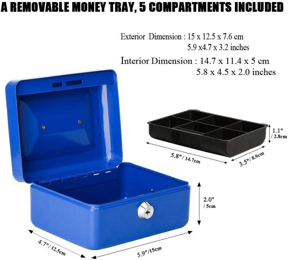 5.6cm S, Bleu Caisse avec Serrure /à cl/é Tirelire portative en m/étal /à Double Couche et 2 cl/és pour la s/écurit/é 12.5 10