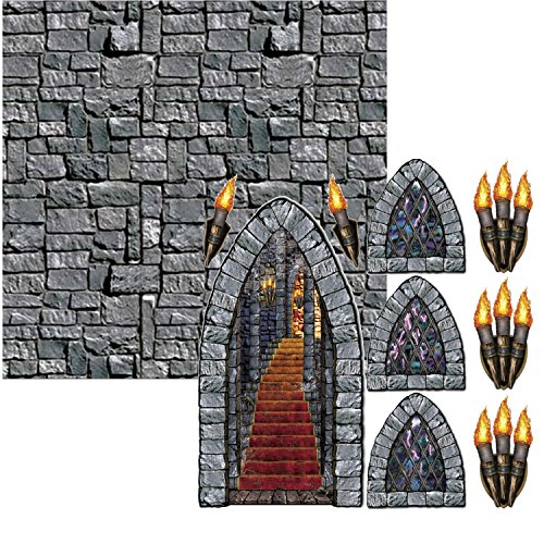 Stone Wall Backdrop with Stairway, Window & Torch Props Party Accessories Bundle | Create Your Own Medeival Theme -