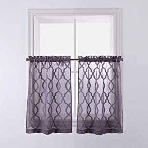 Valea Home Moroccan Embroidered Semi Sheer Curtains for Kitchen Window Rod Pocket Voile Drapes for Small Windows, 27 inch Wide x 36 inch Long, Grey, Set of 2 Panels