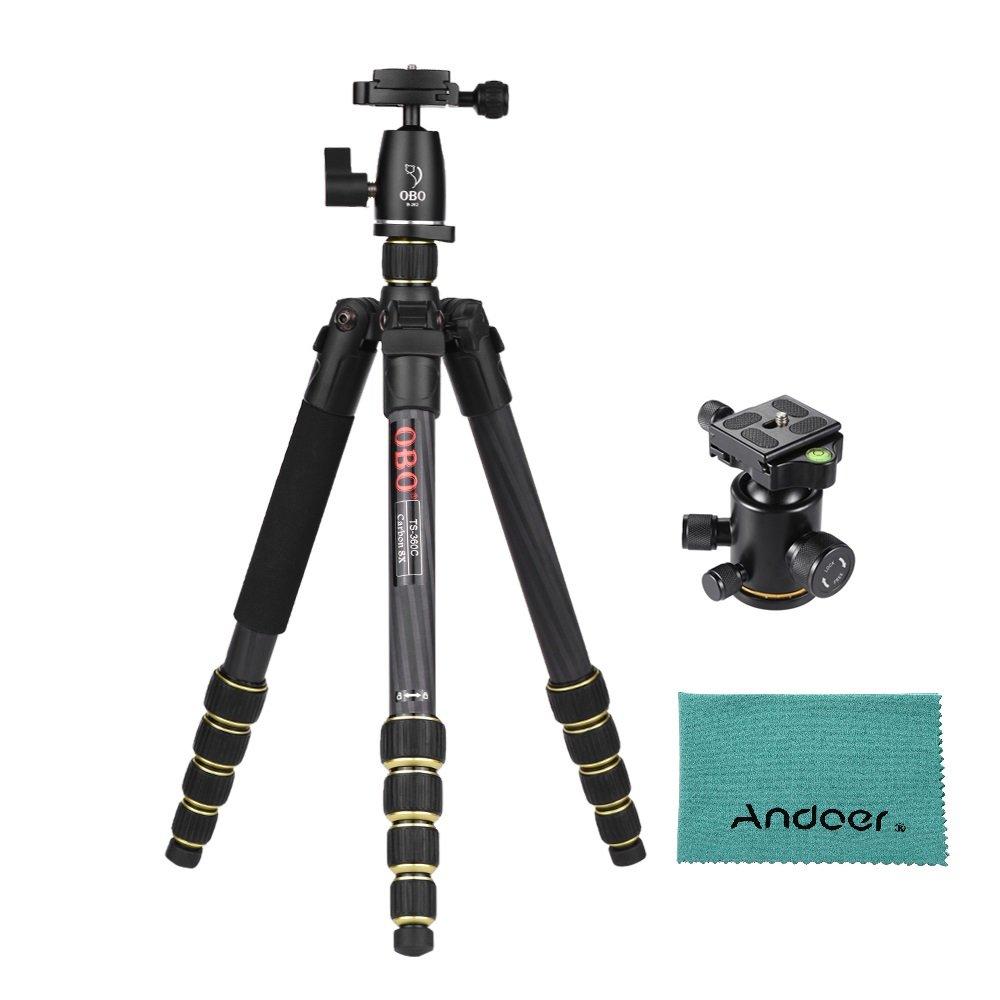 Andoer カメラ 三脚 炭素繊維製+B262 パノラマボールヘッド アルミ製Andoerクリニーククロース付きCanon Nikon Sony DSLR ILDCカメラ用 最大作業高さ150cm 最大荷重10kg   B0771LP6D3