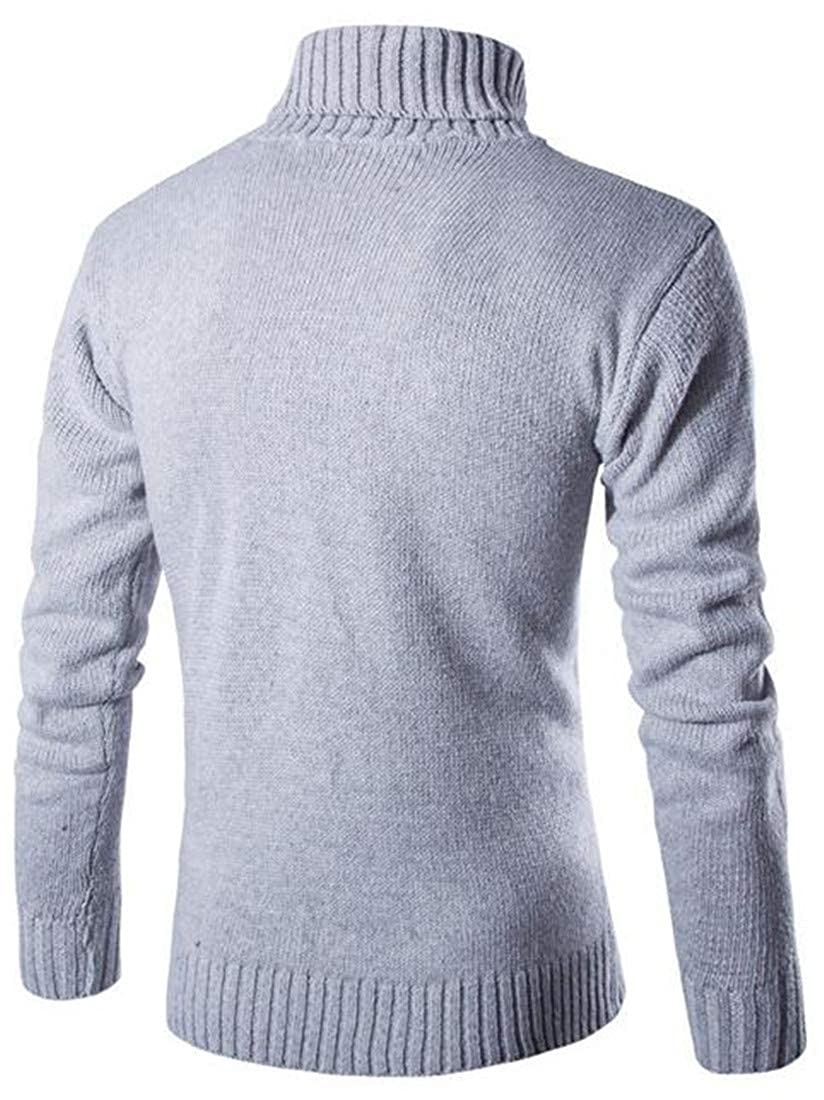 Pandapang Mens Woven Classic Long Sleeve High Neck Pullover Jumper Sweaters