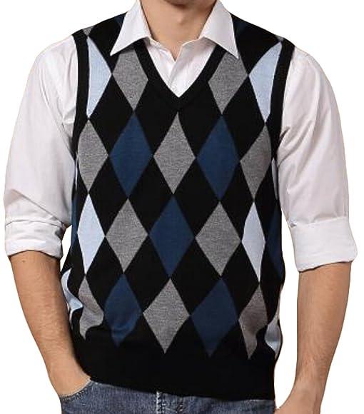 GAGA Mens Stylish V Neck Sleeveless Slim Plaid Sweater Vests at ...