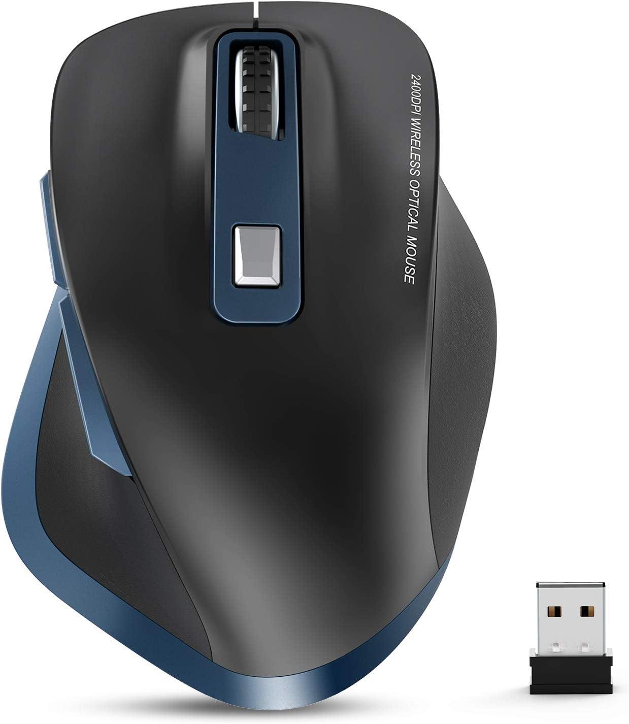 TedGem Ratón inalámbrico para portátil, 2,4 G, ratón inalámbrico 2400 PPP, Receptor USB Nano, 6 Botones, para PC/Tablet/portátil y Windows/Mac/Linux, Office Home (Azul y Negro)