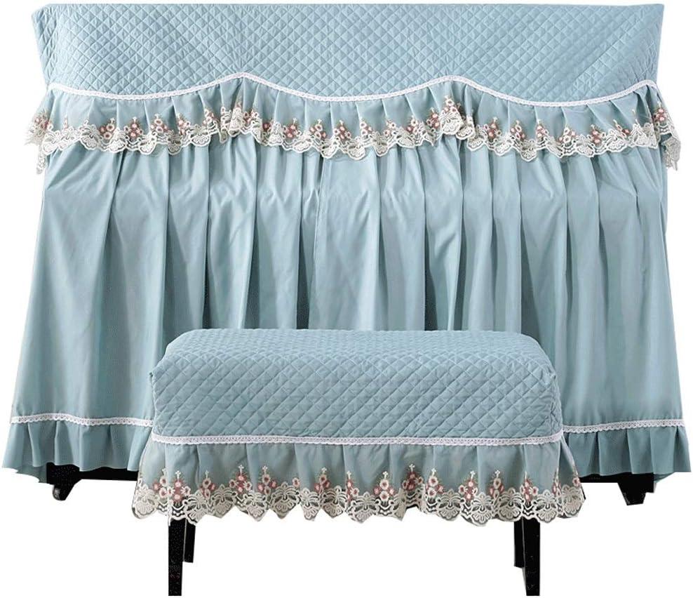 標準縦型ピアノ用防塵保護布カバー アップライトピアノのフルカバーコットントップとスツールカバー現代のミニマリストのピアノカバー装飾布防塵 (色 : 青, サイズ : 58x38cm)