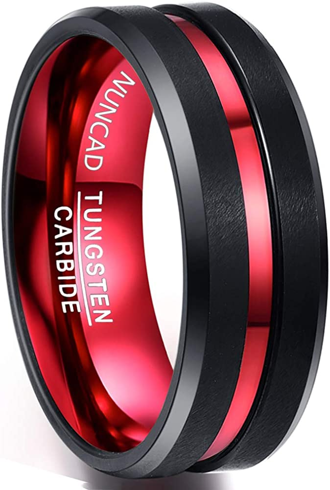 NUNCAD Men's 8mm Black and Red Tungsten Carbide Ring Matte Finish Beveled Edge Comfort Fit Size 7-16