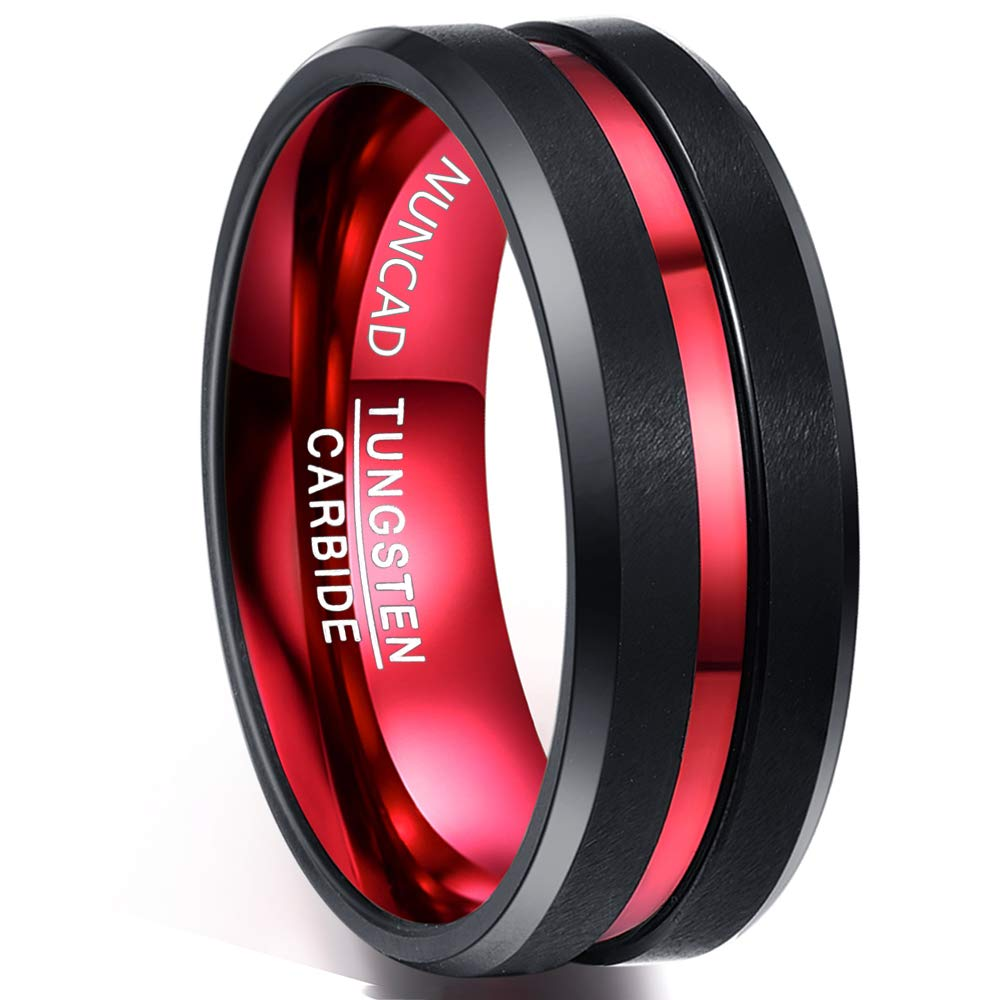 Nuncad Tungsten Ring Red Black Matte Finish Beveled Grooved Wedding Bands for Men 8mm Size 10