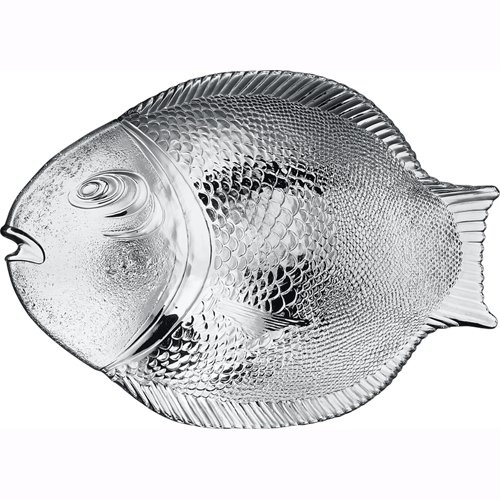 "Plate Glass Fruit (Pasabahce 10258, 14.25""x10.5'' Large Glass Dinner Fish Plate, Unique Design Serving Platter Dish, Fish Shape Textured Glass Serving Dish, Food Tray, Party Platter for Fish, Sushi, Fruit or Cheese)"