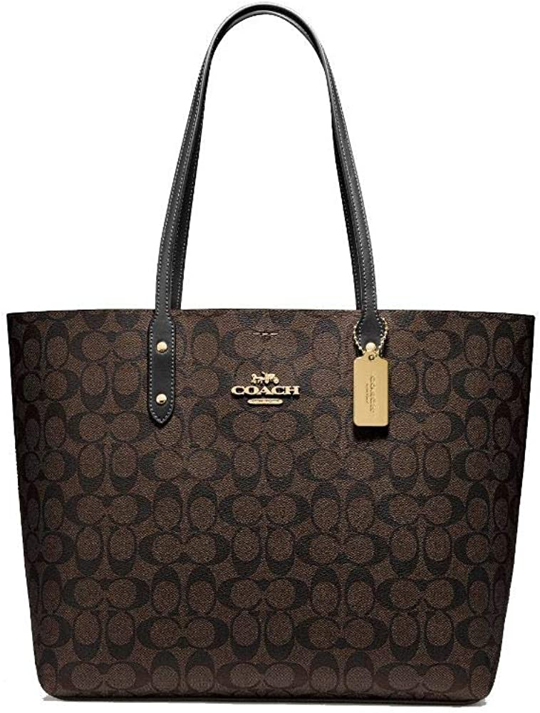 Coach Town Tote In Signature Canvas, Im/Brown/Black, X-Large