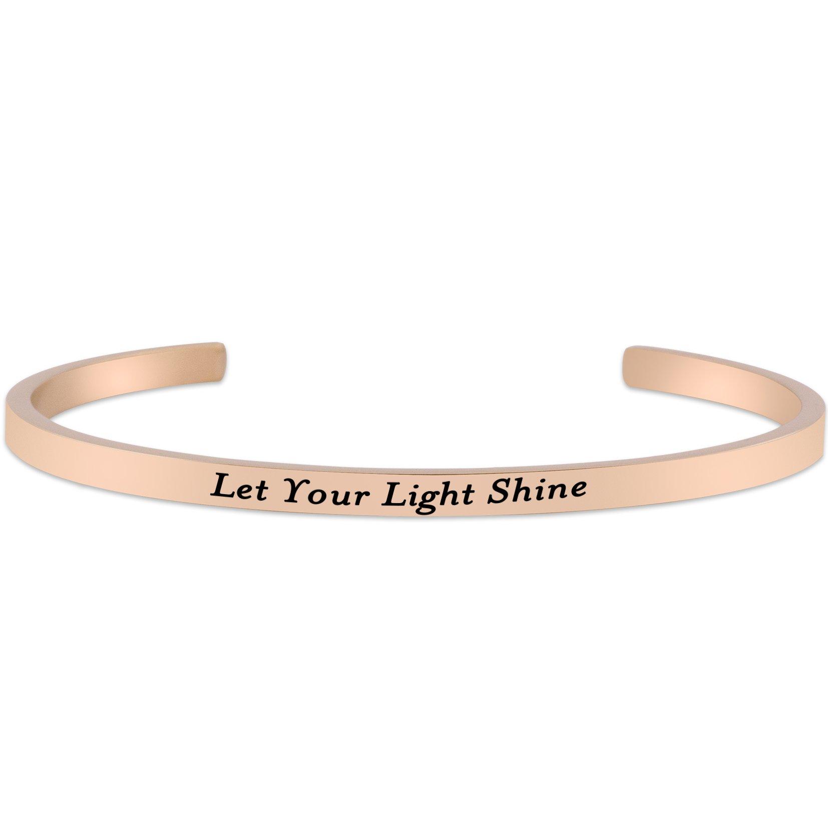 Lademayh Let Your Light Shine Engraved Friendship Bracelet Stainless Steel Inspirational Mantra Bracelets for Sister, Rose Gold Personalized Bracelets Jewelry