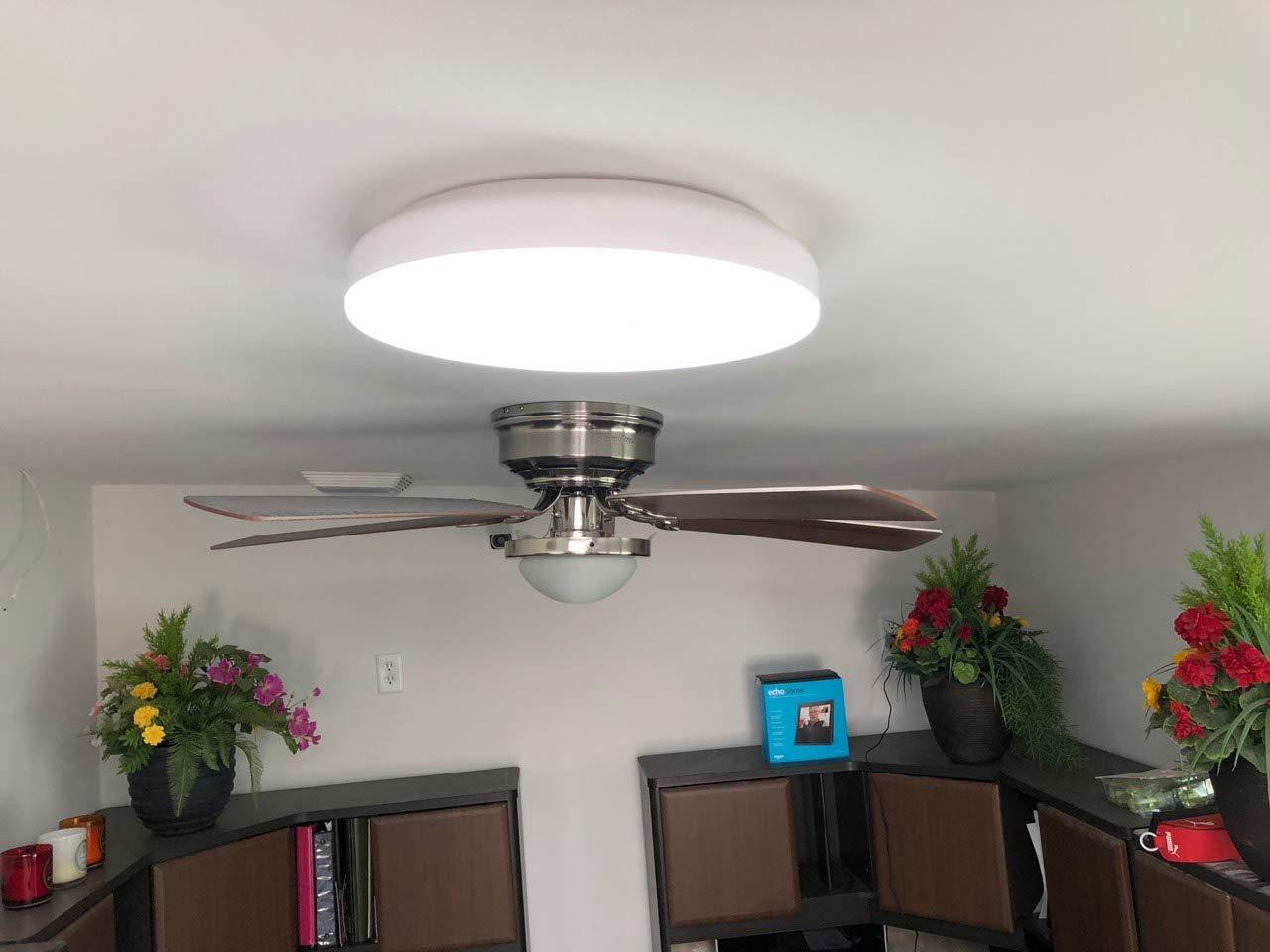 Premium 14'' Flush Mount LED Ceiling Light Fixture with Motion Sensor, Remote Control & Timer - Dimmable & Adjustable Light Color (Warm 2700K-5000K Cool) - Bedroom, Dining Room, Bathroom and Closet