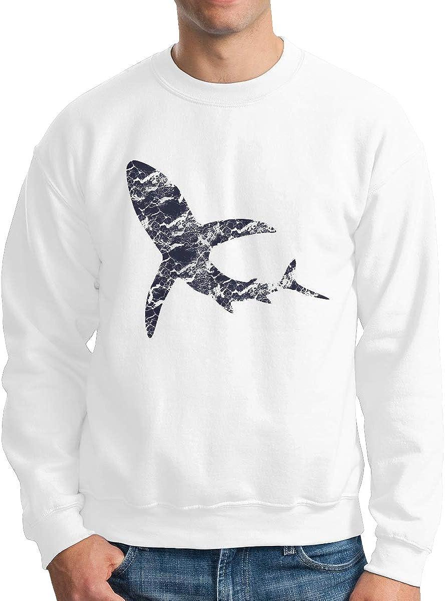 Shark Silhouette Men Crewneck Long Sleeve Pullover Round Collar Sweatshirt