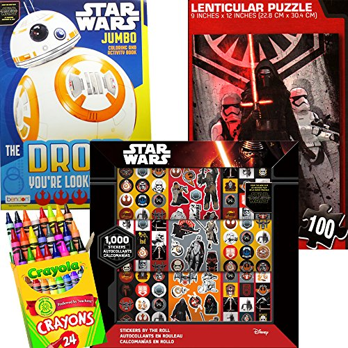 Star Wars Coloring Book with Crayons, 1000 Stickers and Lenticular Puzzle 4 in 1 Value Set, Featuring The Force Awakens Characters: BB-8, Kylo Ren, Rey, Captain Phasma, Stormtroopers, and more