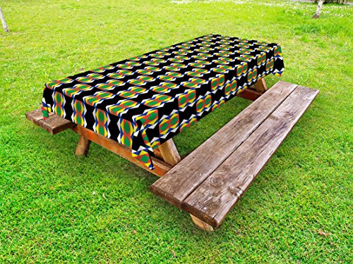 Design Kente - Ambesonne Kente Pattern Outdoor Tablecloth, South African Ethnic Zulu Design with Triangle Details Funky and Primitive, Decorative Washable Picnic Table Cloth, 58 X 84 Inches, Multicolor