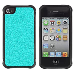 WAWU Funda Carcasa Bumper con Absorci??e Impactos y Anti-Ara??s Espalda Slim Rugged Armor -- light blue background shining glitter -- Apple Iphone 4 / 4S