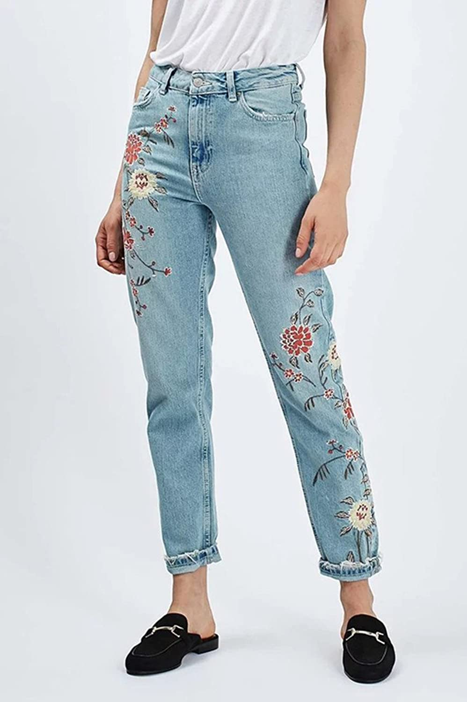 Women's Floral Embroidered Stitching Denim Skinny Pencil Jeans Dark Blue