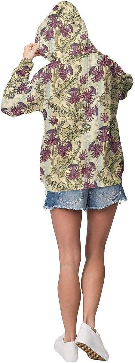 Purple Thistle Flower Womens Long Sleeve Pullover Hooded Sweatshirt Top Hoodie with Fleece Lining