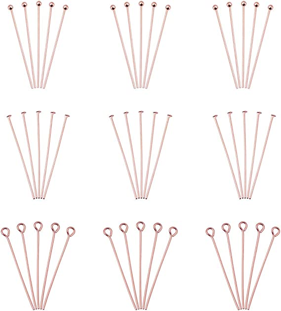 Choupee Eye Pins 288 Pieces Flat Eye Headpins for Jewelry Making Bronze