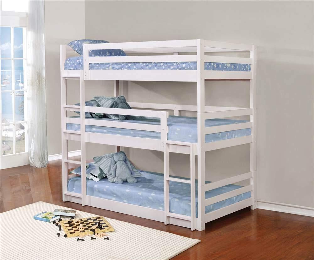 Coaster Home Furnishings Bunk Bed, Triple Twin, White