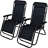 Patio Lounge Beach Outdoor Folding Recliner Chair Zero Gravity Pool 2 Chairs Reclining Chaise Yard Tray Utility Lawn 2pc