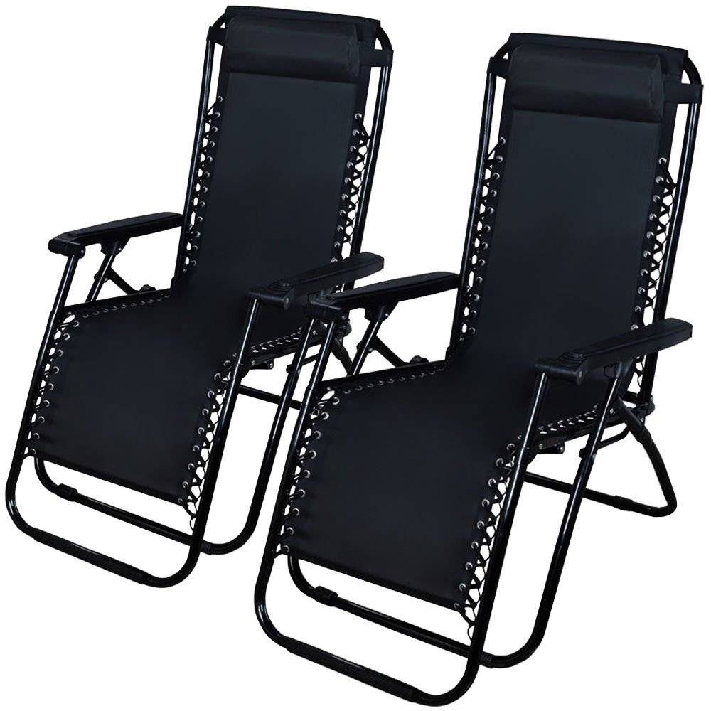 D-Sun Set of 2 Outdoor Zero Gravity Lounge Chair Beach Patio Pool Yard Folding Recliner