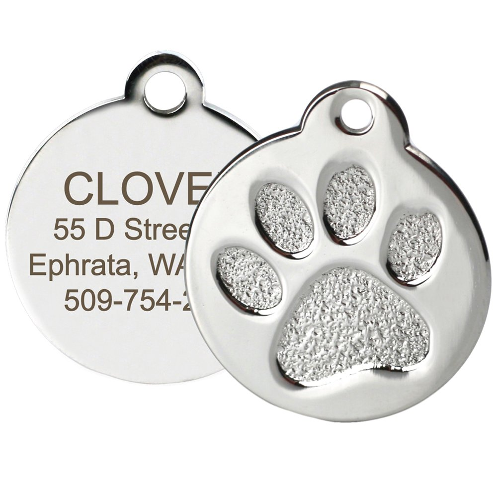 Paw Regular Paw Print Round Stainless Steel Pet ID Tag Dog and Cat ID Tag (Paw Size Regular)