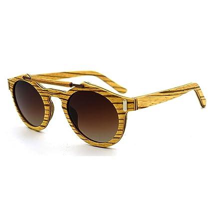 Aihifly Gafas de Sol polarizadas Personalidad Handcraft Unisex-Adulto Gafas de Sol de Madera Lente
