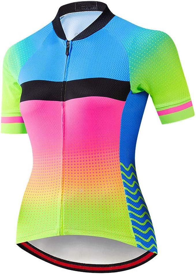 Maglia Ciclismo Donne Set Manica Corta+5D Imbottito Pantaloncini Bicicletta Traspirante Rapido 3-Tasche S-3XL