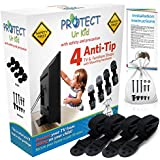 Anti Tip Furniture Anchor & TV Straps w/Ultra-Strong Mounting Hardware Locks-In Heavy Objects for Instant Earthquake, Child & Baby Proofing (Black, 4 Straps)