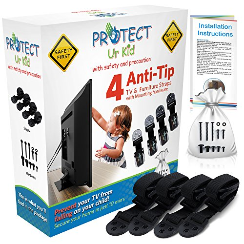 Anti Tip Furniture Anchor & TV Straps w/Ultra-Strong Mounting Hardware Locks-In Heavy Objects for Instant Earthquake, Child & Baby Proofing (Black, 4 Straps) (Cabinets 24'd)