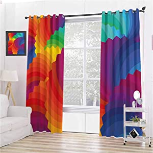 Toopeek Colorful Home Decor 100% Blackout Lining Curtain Gradient Dash Sea Shell Inspired Wavy Dimension Palette Stripes Artisan Full Shading Treatment Kitchen Insulation Curtain W72 x L72 Inch Multi