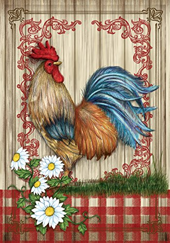 Country Home Rooster - Standard Size, Decorative Double Sided, Licensed and Copyrighted Flag - MADE IN USA by Custom Decor Inc. 28 Inch X 40 Inch approx.