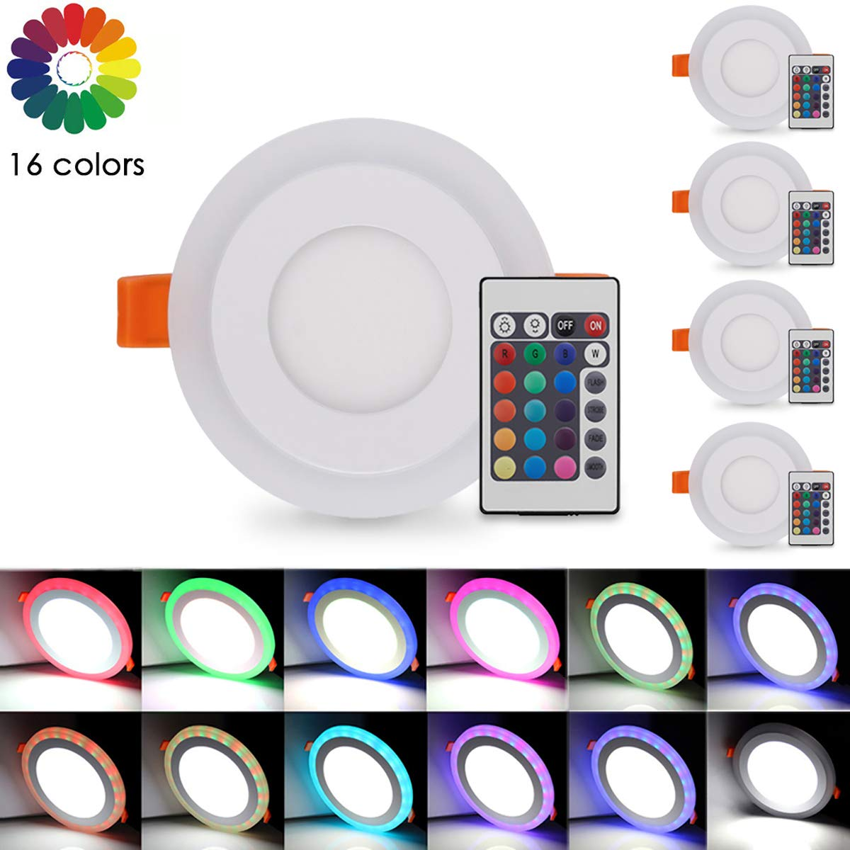 Pocketman Ultra-Thin RGB LED Panel Recessed Ceiling Light,9w 800 Lumens 5.7-inch Color Changing Round Ceiling Downlight with Remote Control & LED Driver,5-Pack
