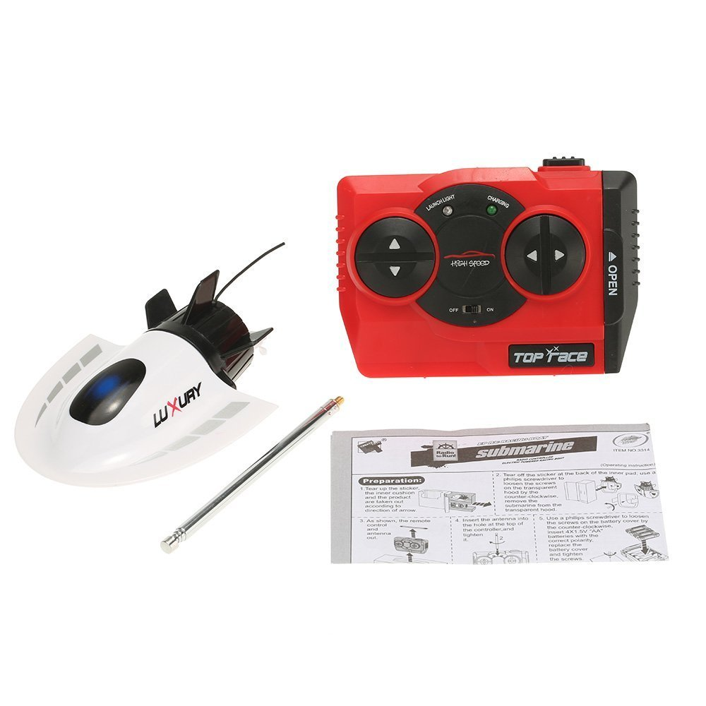 SZJJX RC Submarine Mini 27MHz 4CH High Powered Speed Electric Radio Remote Control Submersible Boats Toys White