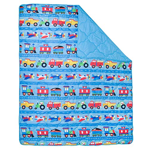 Wildkin 4Piece Toddler Bed-in-A-Bag, 100% Microfiber Bedding Set, Comforter, Flat Sheet, Fitted Sheet, & Pillowcase, Coordinates with Other Room Décor, Olive Kids Design – Trains, Planes, and Trucks