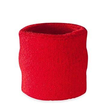 Suddora - Muñequeras, algodón, 1 unidad, rojo: Amazon.es: Deportes ...