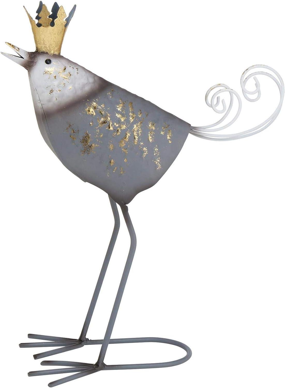 CasaJame Gartenfiguren Metallv/ögel mit Goldener Krone im 2er Set Sortiert grau wei/ß 37x27x14cm
