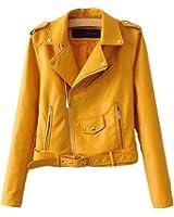 SaiDeng Donna Punk Stile Giacca Moto Corto In Pelle Pu Cappotto Cerniera Jacket