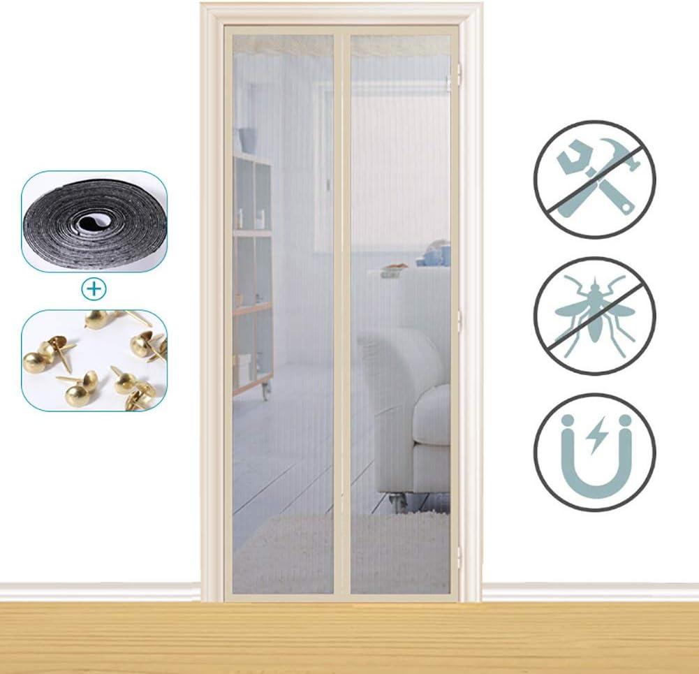 Xrrxy Puerta magnética para mosquiteras, Insectos Mosquito Door Screen, Totalmente Magnética, Cierre Automático y Velcro Adhesiva, para Puertas Correderas/Balcones/Terraza,Beige,70x205cm(28x8linch): Amazon.es: Hogar